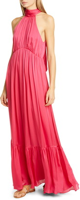 Zimmermann Halter Bow Silk Maxi Dress