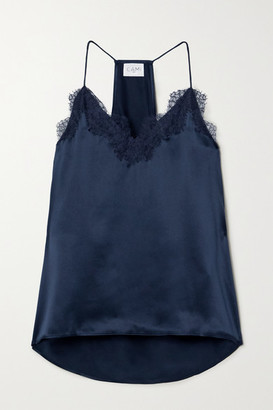 CAMI NYC The Racer Lace-trimmed Silk-charmeuse Camisole - Navy