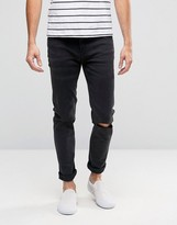 Cheap Monday Tight Skinny Jeans Cut Gray Knee Rips
