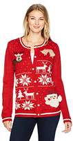 Erika Women's Violet Wintry Collage Cardigan Ugly Christmas Sweater