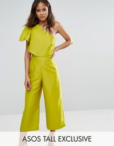 ASOS Tall ASOS TALL Bow One Shoulder Wide Leg Culotte Jumpsuit