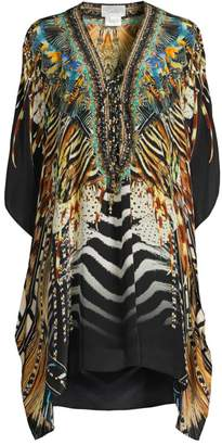 Camilla Animal Print Lace-Up Kaftan
