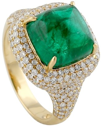 Artisan 18K Yellow Gold Diamond Cocktail Ring Emerlad Precious Stone Jewelry Black Friday Sale