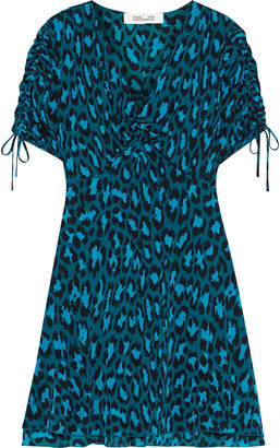 Diane von Furstenberg Carin Ruched Printed Stretch-mesh Mini Dress