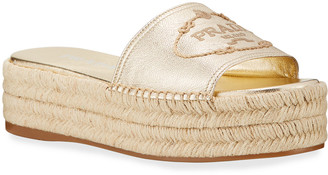 Prada Metallic Leather Platform Espadrilles