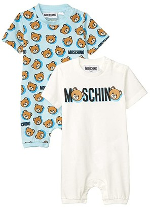 MOSCHINO BAMBINO All Over Print Romper Gift Set (Infant) (Blue) Boy's Active Sets