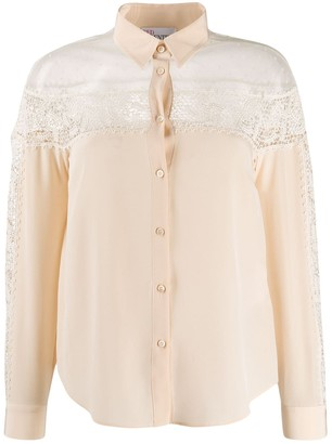 RED Valentino Crochet Panel Long-Sleeved Blouse