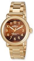 Shinola 38mm Women's Runwell Coin Edge Bracelet Watch w/ Tiger's Eye Dial