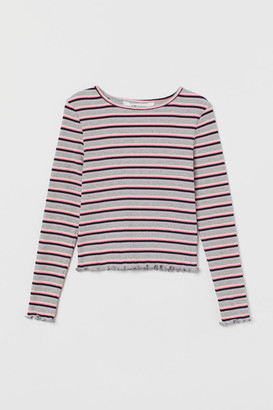 H&M Ribbed Jersey Top - Gray