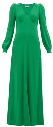 Bella Freud Nova Balloon-sleeve Crepe Dress - Womens - Green