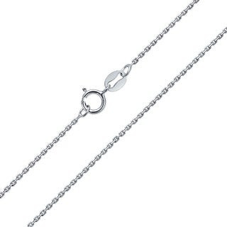 Overstock Diamond Cut Cable Chain 20 Gauge Necklace Rhodium 925 Sterling Silver