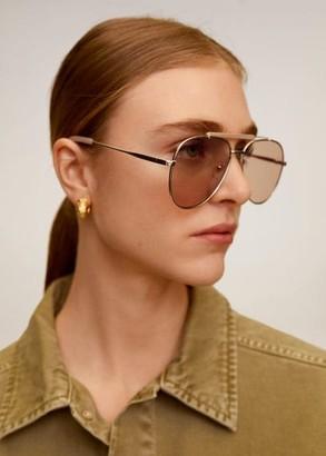 MANGO Aviator metallic frame glasses ecru - One size - Women