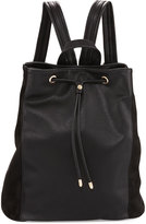 Neiman Marcus Faux-Leather Drawstring Bucket Backpack, Black