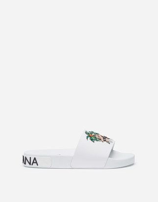 Dolce & Gabbana Rubber Beachwear Sliders With Stylist Patch