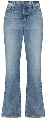 Frame Pleated-Detail Flared Jeans