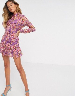 ASOS DESIGN contrast lace high neck mini dress