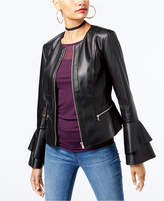 INC International Concepts Petite Ruffle-Sleeve Faux-Leather Jacket, Created for Macy's