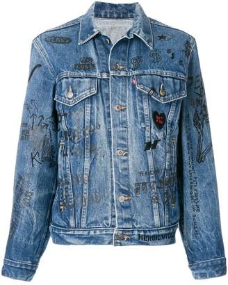 R 13 Scribble Print Denim Jacket