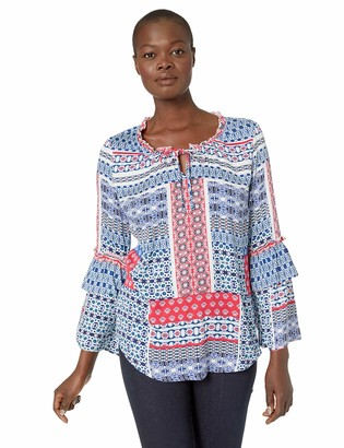 Tribal Women's Long Sleeve Blouse with Ruffle Detail