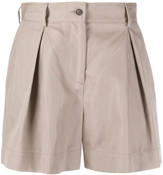 MSGM Pleated High-Waisted Shorts