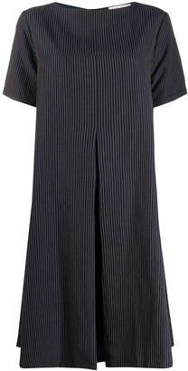YMC Pinstripe Flared Midi Dress