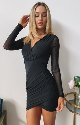 Beginning Boutique Elevated Long Sleeve Party Dress Black