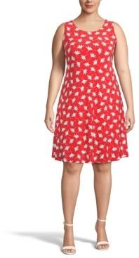 Anne Klein Plus Size Poppy-Print Fit & Flare Dress