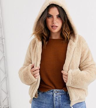 Only Curve zip through fleece hooded bomber-Beige