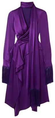 Alexander McQueen Fringed Cutout Silk-satin Midi Dress