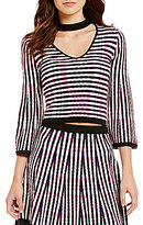 Lucy Paris Striped Choker Neck Bell Sleeve Striped Knit Top