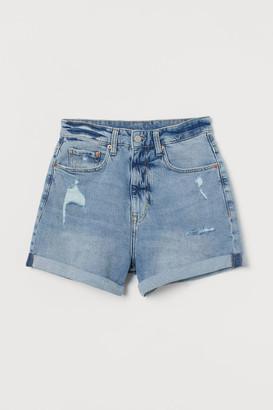 H&M Mom Ultra High Denim Shorts - Blue