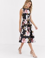 Chi Chi London prom satin midi skater dress in dark floral