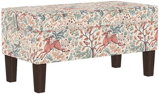 One Kings Lane Breene Kids' Storage Bench - Pink Linen - frame, espresso; upholstery, pink/multi
