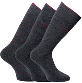 Emporio Armani 3 Pack Dark Grey Melange Knitted Socks