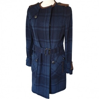 Barbour Blue Wool Trench Coat for Women
