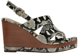 Cole Haan Laci Snakeskin-Embossed Leather Platform Wedge Slingback Sandals