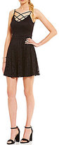 B. Darlin Strappy Front Lace Fit-And-Flare Dress