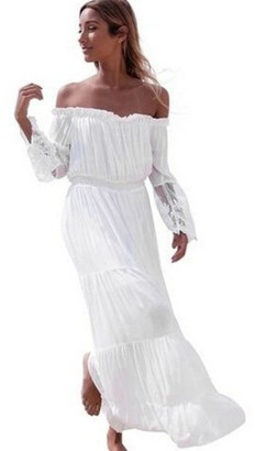 Fhuuly Women Lace Dress Summer White Beach Maxi Dress for Ladies Sexy Strapless Beach Summer Long Dress Dresses Beach Dresses (White M)