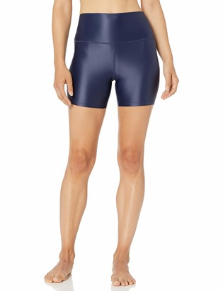 Core 10 Amazon Brand Women's Icon Series Liquid Shine High Waist Yoga Short 5 Navy X-Large