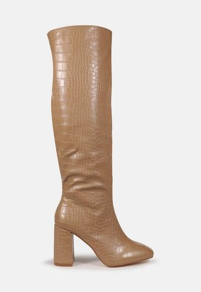 Missguided Mocha Croc Block Heel Knee High Boots