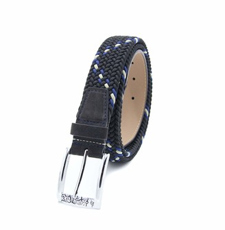 Robert Graham Mens Designer Belt Leather Suede & Silver Buckle / Braided Belt