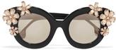 Alice + Olivia Alice Olivia - Madison Cat-eye Crystal-embellished Acetate Sunglasses - Black