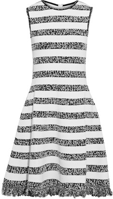 Oscar de la Renta Frayed Striped Boucle-knit Dress