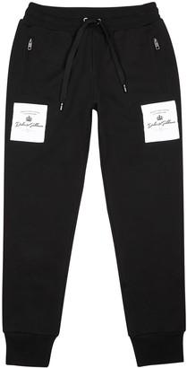 Dolce & Gabbana Black appliqued cotton sweatpants