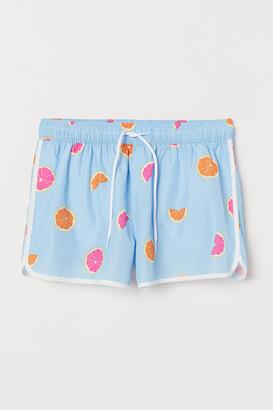 H&M Short Patterned Swim Shorts - Blue