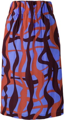 Aspesi Faldilla abstract-print pencil skirt