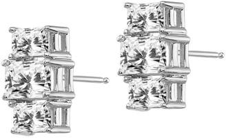 Moissanite 2.40 cttw 3-Stone Emerald-Cut Earrings, 14K Gold