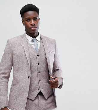 Noak Skinny Suit Jacket In Harris Tweed