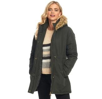 Fluid Womens Parka Jacket Dark Khaki