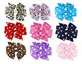 "HipGirl 4.5"" Hairbow Clips Grosgrain Ribbon Boutique Bows For Girls Babies Teens Kids Toddlers Adults.Alligator Clip For Pigtails,Ponytails. Hair Accessories To Match Outfits,Dresses. Pack of 9"